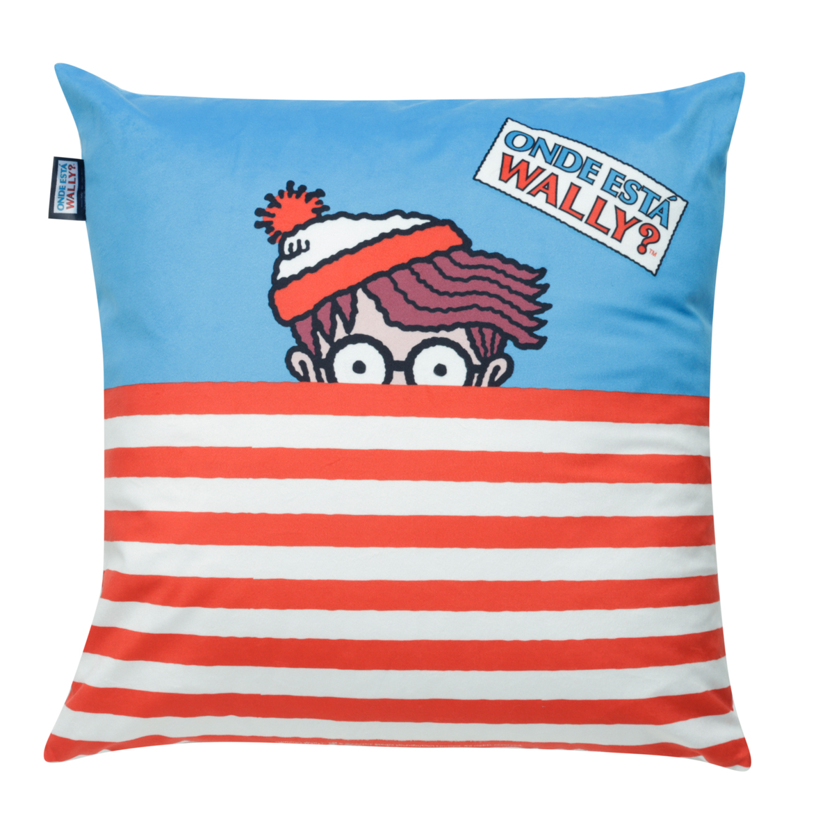 CAPA ALMOFADA POLIESTER UVL WALLY WHERE IS WALLY SHIRT COLORIDO 45X45CM