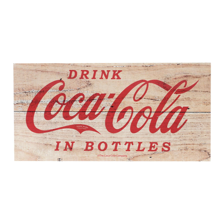 PLACA MADEIRA COCA-COLA DRINK IN BOTTLES FD MARROM 30X15X1.2CM