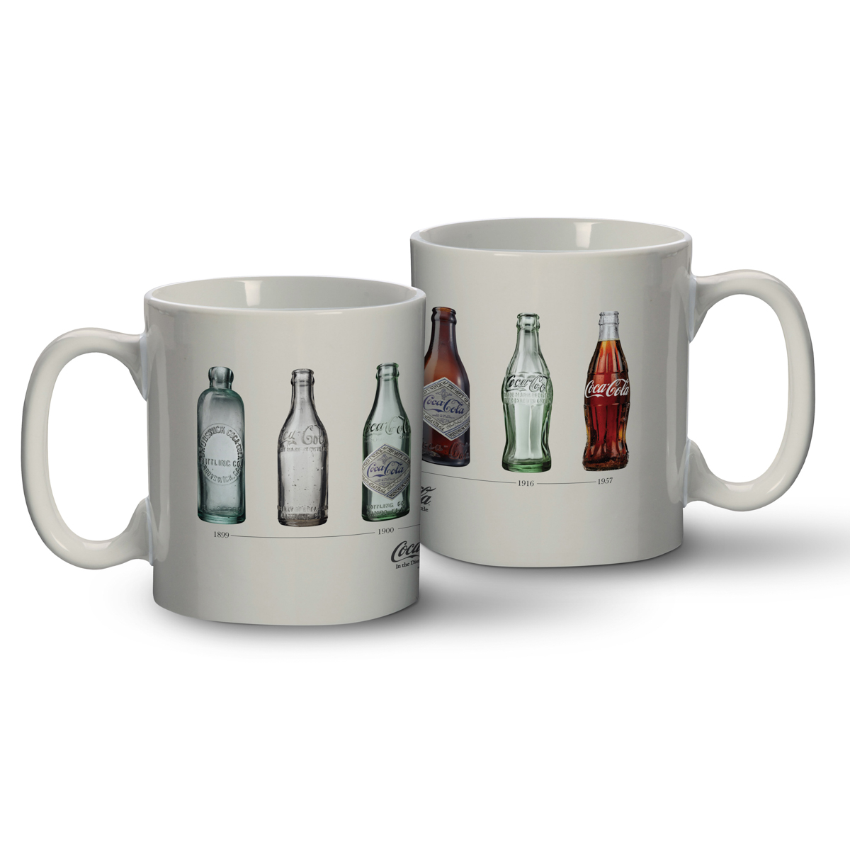 CANECA PORCELANA COCA-COLA BOTTLES EVOLUTION BRANCO 8x8x9,5 cm - 320ml