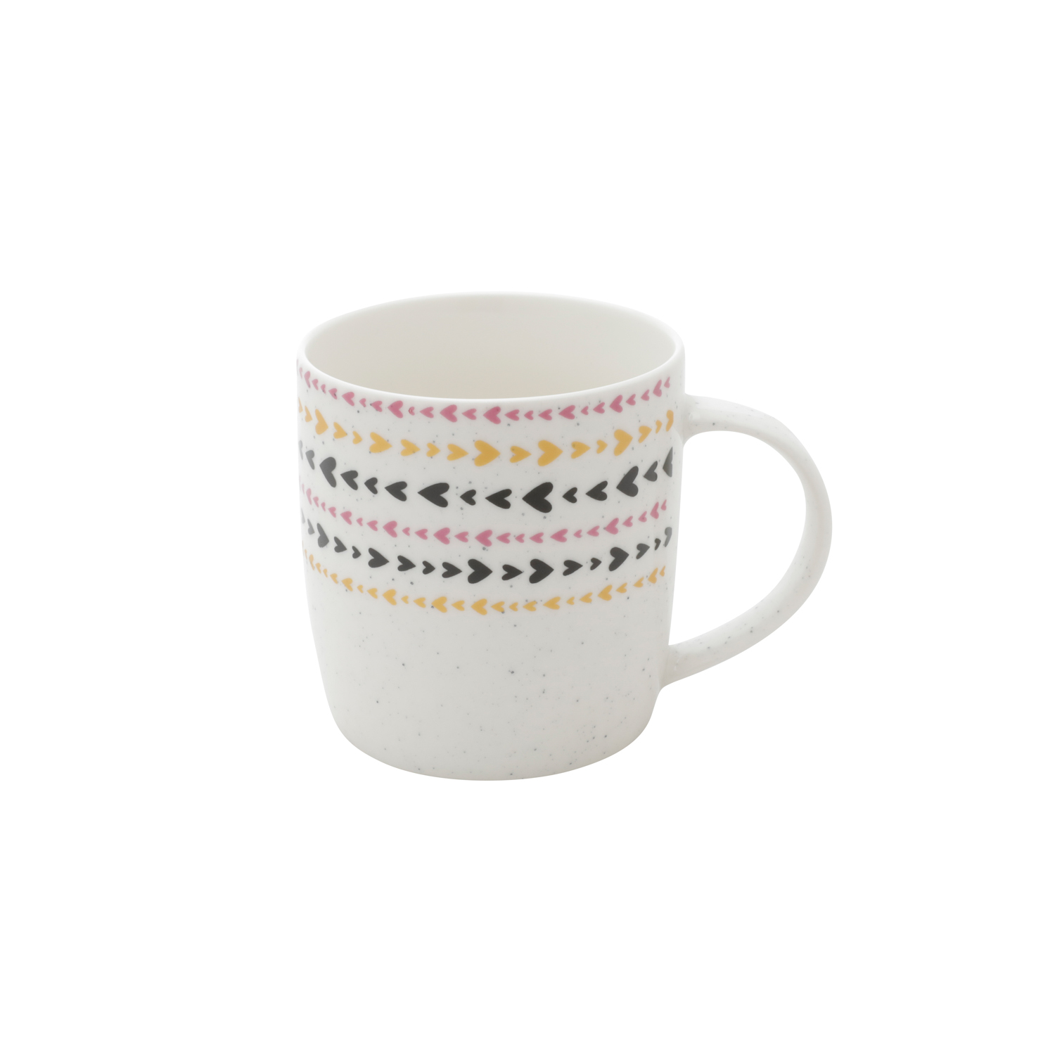 CANECA PORCELANA GOOD MORNING HEART BRANCO/PRETO 8,5X7,3X9,3 cm - 400ml