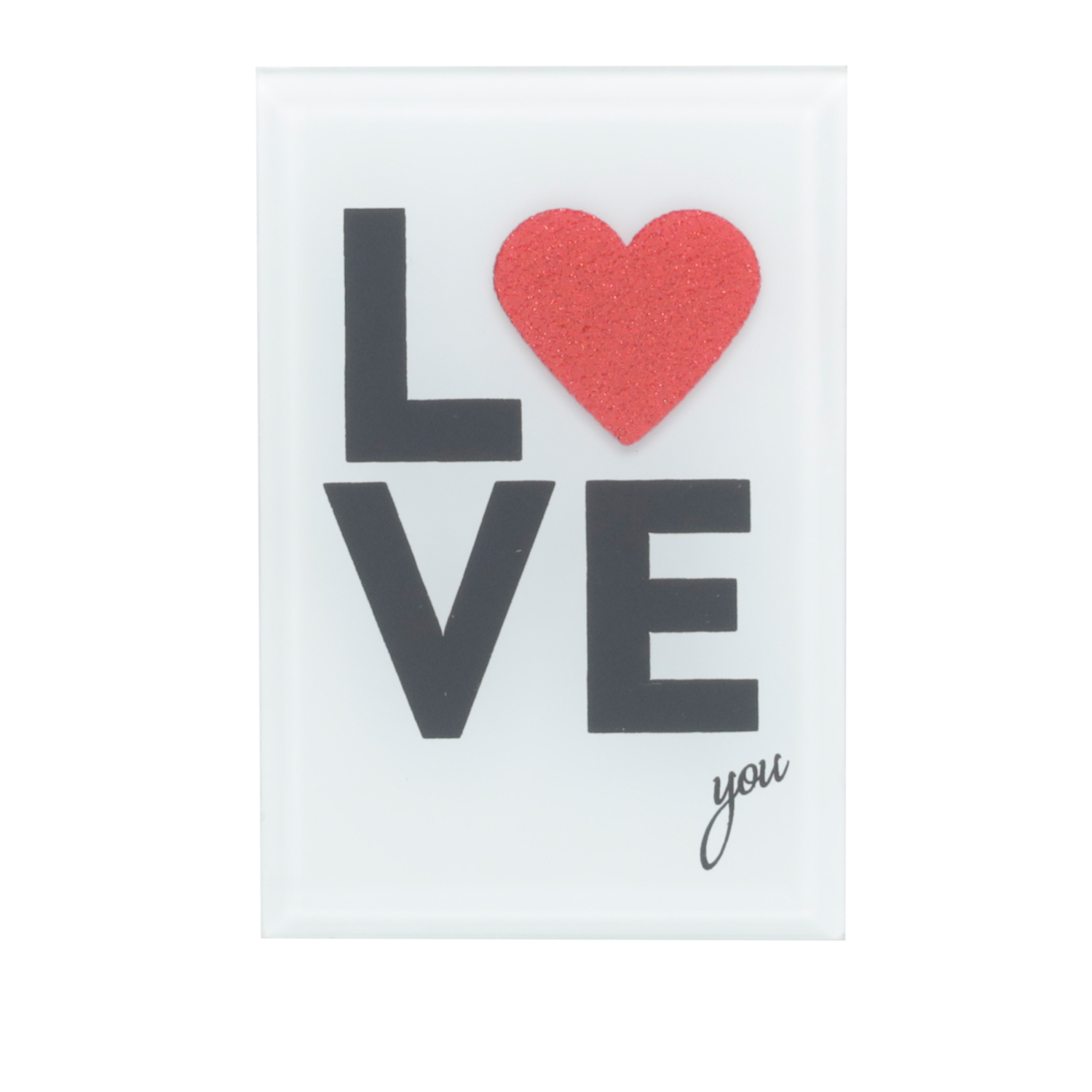 PLACA VIDRO MESA DECOR MY LOVE TRANSPARENTE E VERMELHO 8X1X12 CM